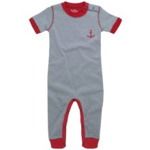 Hatley Day Romper - Short Sleeve (For Infants) in Blue Whales Stripe - Closeouts