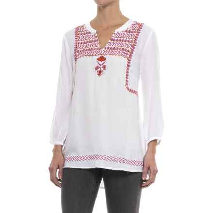 Hatley Embroidered Tunic Shirt - Long Sleeve (For Women) in White Fuschia/Orange Lariat - Closeouts