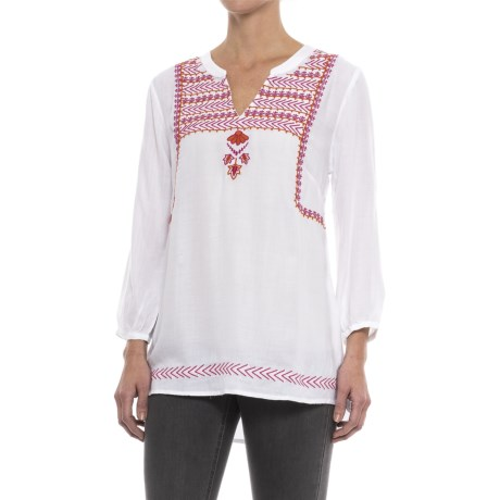 Hatley Embroidered Tunic Shirt - Long Sleeve (For Women) in White Fuschia/Orange Lariat