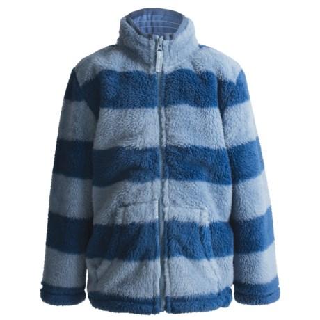 Hatley Fuzzy Fleece Jacket - Zip Front (For Kids) in Blue Stripes