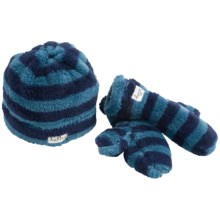 Hatley Fuzzy Fleece Mittens and Hat (For Kids) in Blue Stripes - Closeouts