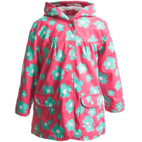 Hatley Hooded Terry-Lined Rain Coat (For Kids) in Blue Flowers
