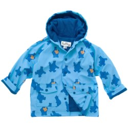 Hatley Hooded Terry-Lined Rain Coat (For Kids) in Dino Bones