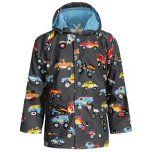 Hatley Hooded Terry-Lined Rain Coat (For Kids) in Monster Truck - Closeouts