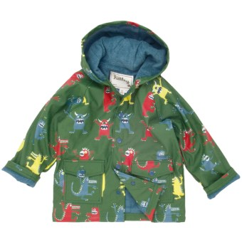 Hatley Hooded Terry-Lined Rain Coat (For Kids) in Monsters