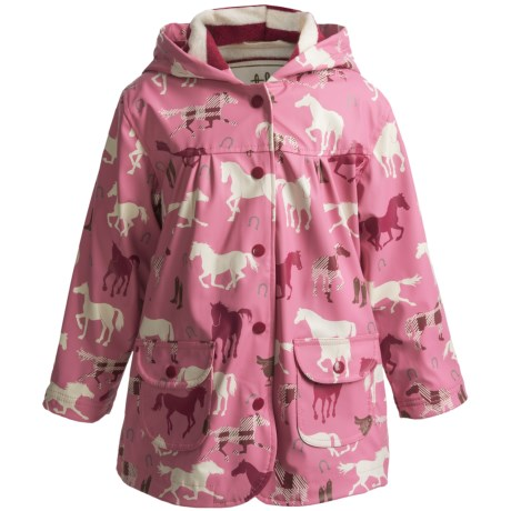 Hatley Hooded Terry-Lined Rain Coat (For Kids) in Pretty Plaid Horses