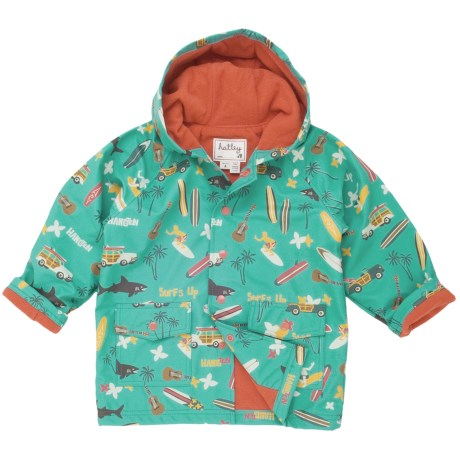 Hatley Hooded Terry-Lined Rain Coat (For Kids) in Trains