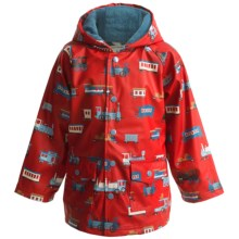 Hatley Hooded Terry-Lined Rain Coat (For Kids) in Trains - Closeouts