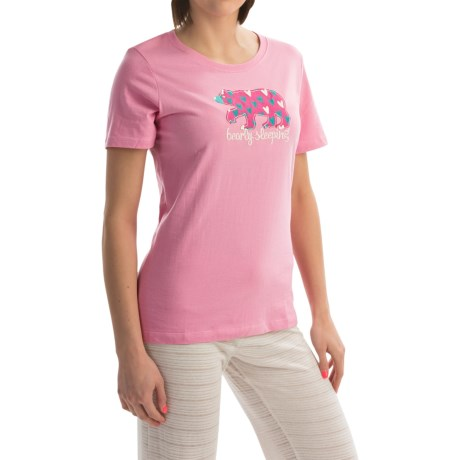 Hatley Jersey Shirt - Short Sleeve (For Women) in Pink Bearly Sleeping