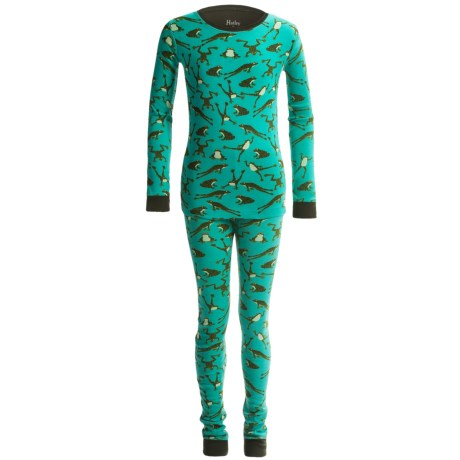 Hatley Knit Cotton Pajamas - Long Sleeve (For Little Kids) in Jumpling Frogs