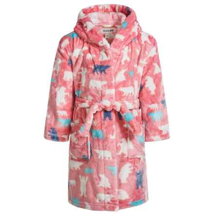 Hatley Little Blue House Bears Fleece Robe - Long Sleeve (For Little Girls) in Pink Bears - Closeouts