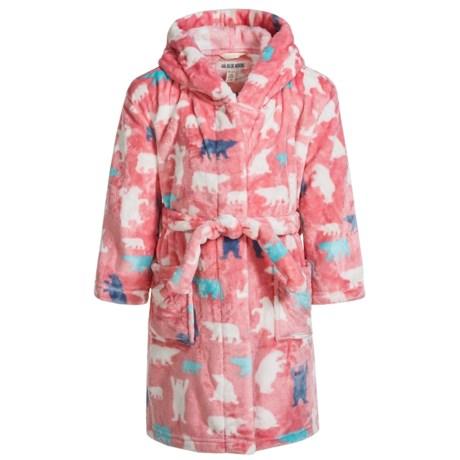 Hatley Little Blue House Bears Fleece Robe - Long Sleeve (For Little Girls) in Pink Bears