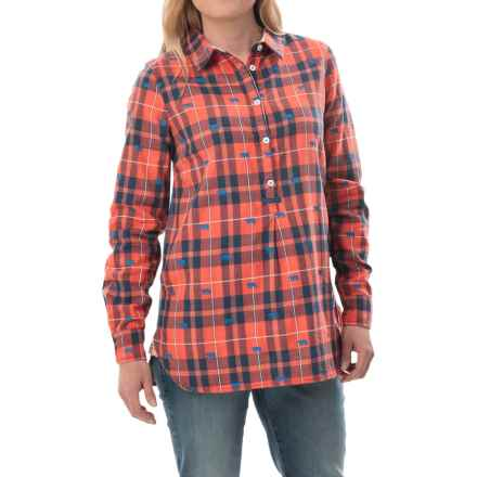 Hatley Popover Plaid Tunic Shirt - Long Sleeve (For Women) in Orange/Bears - Closeouts
