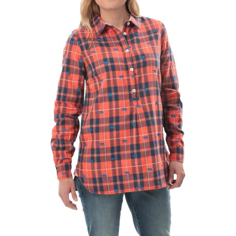 Hatley Popover Plaid Tunic Shirt Long Sleeve (For Women)