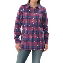 Hatley Popover Plaid Tunic Shirt - Long Sleeve (For Women) in Orchid/Navy Moose - Closeouts