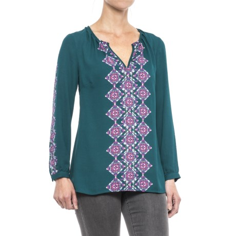 Hatley Print Chiffon Shirt - Long Sleeve (For Women) in Morrocan Teal