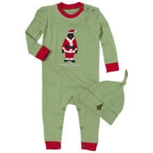 Hatley Printed Coverall with Hat (For Infants) in Christmas Animals - Closeouts
