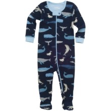 Hatley Printed Footed Coveralls (For Infants) in Blue Whales - Closeouts