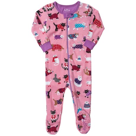 Hatley Printed Footed Coveralls (For Infants) in Sweater Cats