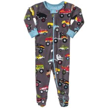 Hatley Printed Footie Pajamas - Long Sleeve (For Infants) in Monster Trucks - Closeouts