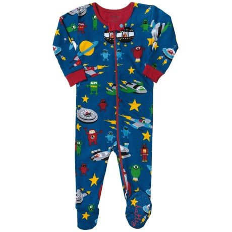 Hatley Printed Footie Pajamas - Long Sleeve (For Infants) in Space Ships