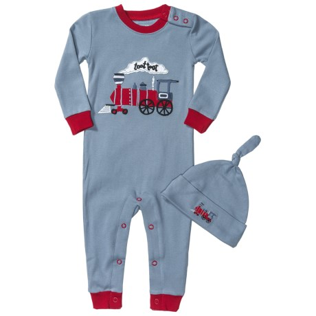 Hatley Printed Romper with Hat (For Infants) in Caboose