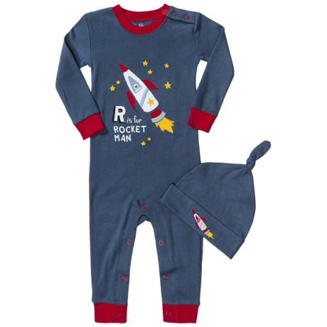 Hatley Printed Romper with Hat (For Infants) in R Is For Rocket