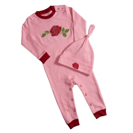 Hatley Printed Romper with Hat (For Infants) in Rosy Afternoon