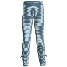 Hatley Ruched Leggings - Stretch Cotton (For Girls) in Blue Heron Stripes - Closeouts