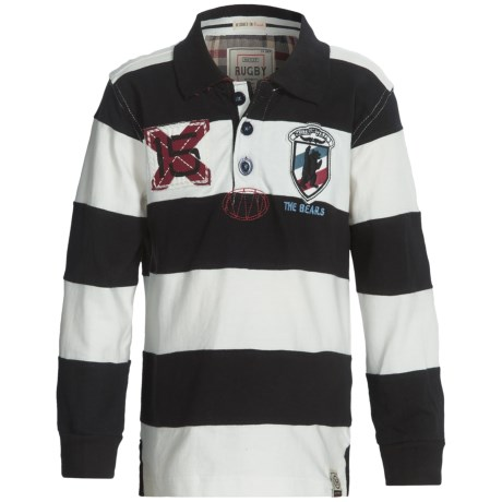 Hatley Rugby Shirt - Long Sleeve (For Boys) in Black Bear
