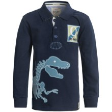 Hatley Rugby Shirt - Long Sleeve (For Boys) in Dino Bones - Closeouts