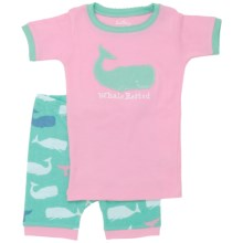 "Hatley Short Pajama Set - Short Sleeve (For Kids) in Pink Whales ""Whale Rested"" - Closeouts"