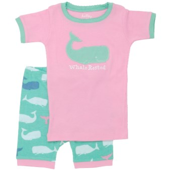 "Hatley Short Pajama Set - Short Sleeve (For Kids) in Pink Whales ""Whale Rested"""