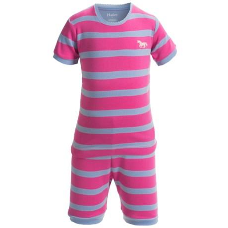 Hatley Short Pajamas - Short Sleeve (For Kids) in Pink/Purple Stripes