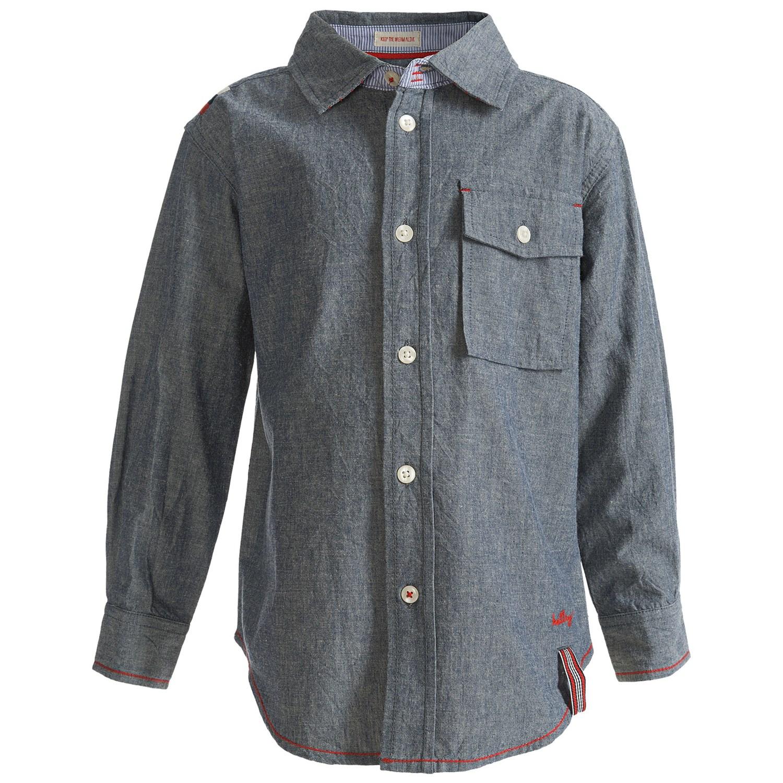 Hatley single pocket shirt cotton chambray long sleeve for Chambray shirt for kids