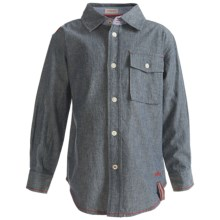 Hatley Single-Pocket Shirt - Cotton Chambray, Long Sleeve (For Kids) in Chambray - Closeouts