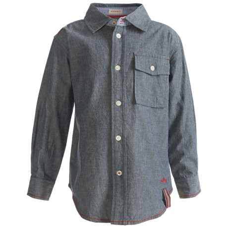 Hatley Single-Pocket Shirt - Cotton Chambray, Long Sleeve (For Kids) in Chambray