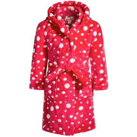 Hatley Snowballs Fleece Robe - Long Sleeve (For Little Girls) in Red Snow Ball Polka Dots - Closeouts
