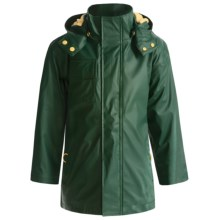 Hatley Splash Rain Jacket - Detachable Hood, Terry Lined (For Boys) in Hunter Green/Gold - Closeouts