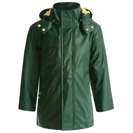Hatley Splash Rain Jacket - Detachable Hood, Terry Lined (For Boys) in Hunter Green/Gold