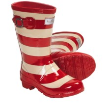 Hatley Splash Rubber Rain Boots (For Kids and Youth Girls) in Red Stripes - Closeouts