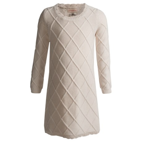 Hatley Sweater-Knit Dress - Long Sleeve (For Girls) in Cable Knit Cream