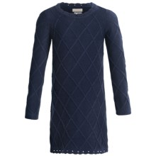 Hatley Sweater-Knit Dress - Long Sleeve (For Girls) in Cable Knit Navy - Closeouts