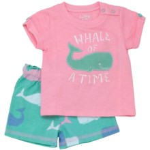 "Hatley T-Shirt and Shorts Set- 2-Piece (For Infants) in Pink Whales ""Whale Of A Time"" - Closeouts"