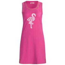 Hatley Tank Beach Cover-Up - Stretch Cotton, Sleeveless (For Women) in Flamingos