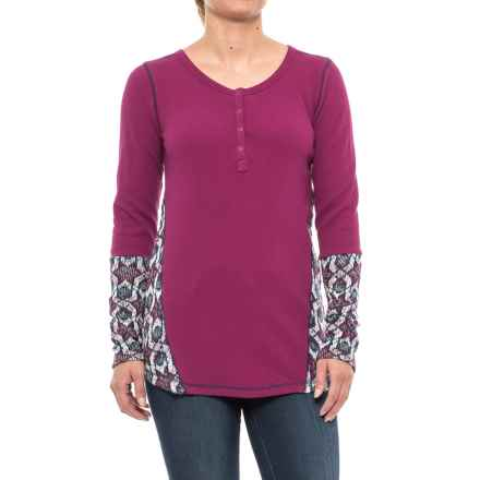 Hatley Waffle-Knit Henley Shirt - Long Sleeve (For Women) in Burgandy - Closeouts