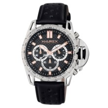 Haurex Talento-R Chronograph Watch - Leather Band in Black/Black - Closeouts
