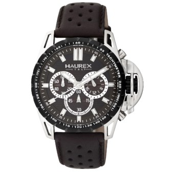 Haurex Talento-R Chronograph Watch - Leather Band in Brown/Brown
