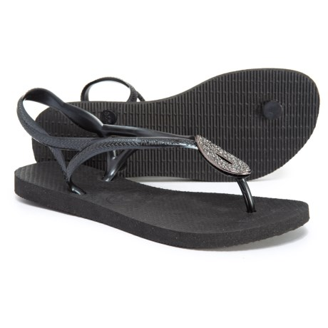 cff9e677ec7215 Havaianas Luna Special Flip-Flops (For Women) in Black Dark Grey