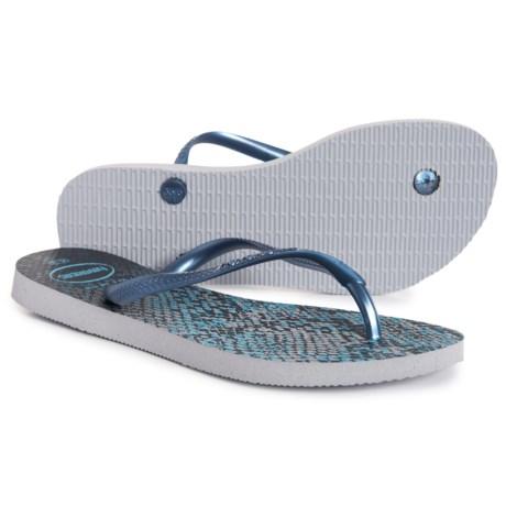 43549e8760a1 Havaianas Slim Animals Flip-Flops (For Women) in Grey Navy Blue